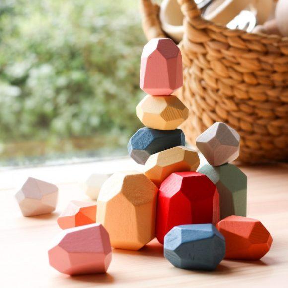 Stacked coloured wooden Himiku blocks